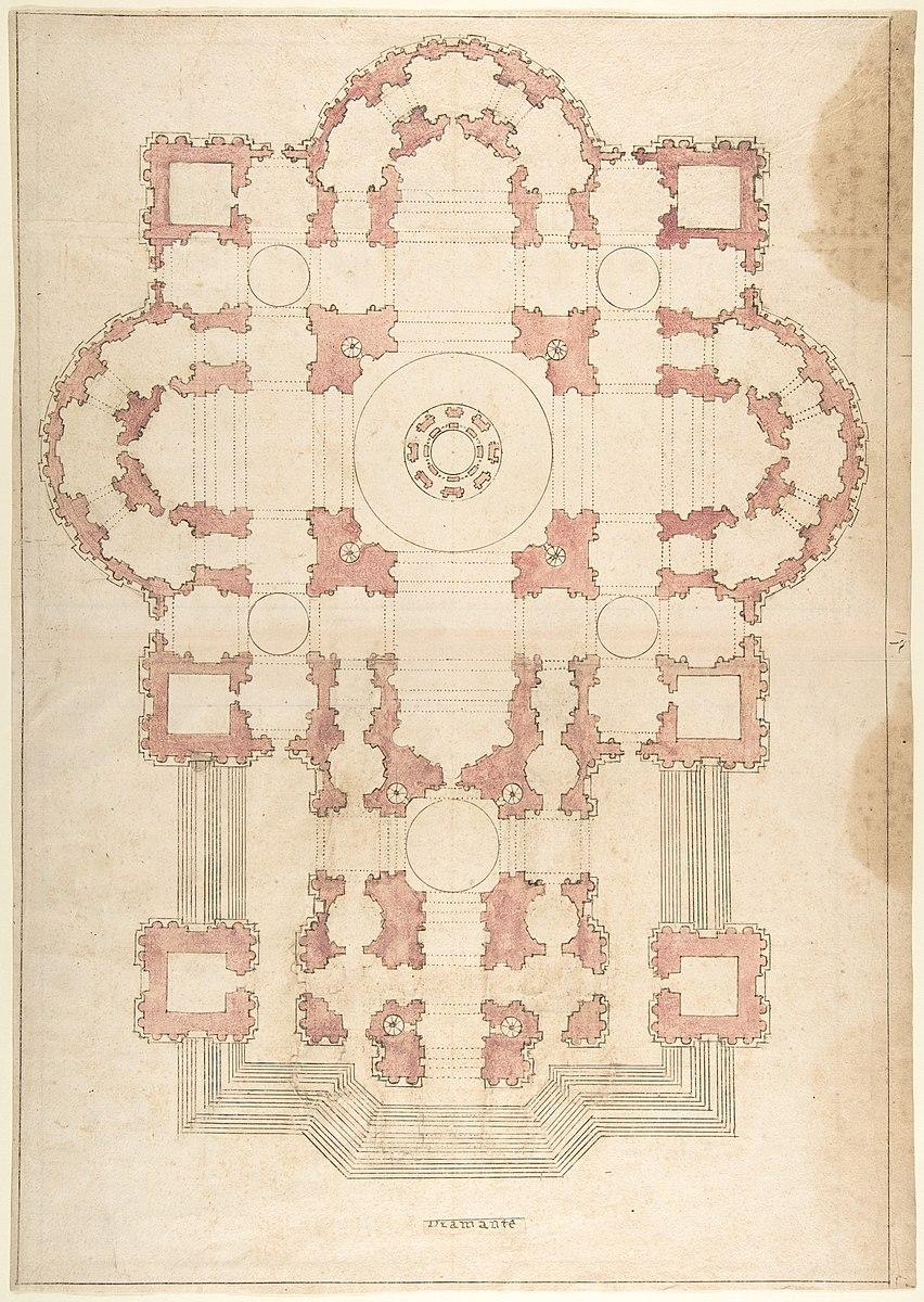 Anonimo, Progetto di Bramante per la basilica di San Pietro XVI-XVII sec.
