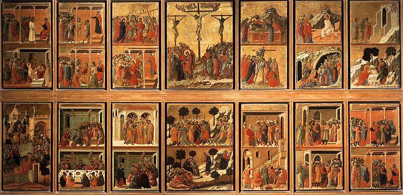 Duccio di Buoninsegna, Madonna in Maestà (recto), 1308-1312