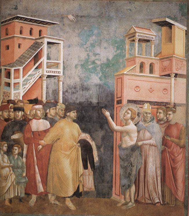 Giotto, Rinuncia degli averi, 1292-1296 Affresco, 270x230 cm Basilica Superiore di San Francesco, Assisi