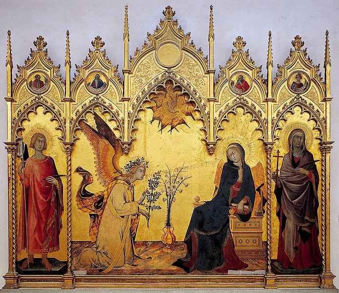 Simone Martini e Lippo Memmi, Annunciazione con Santi Ansano e Margherita, 1333