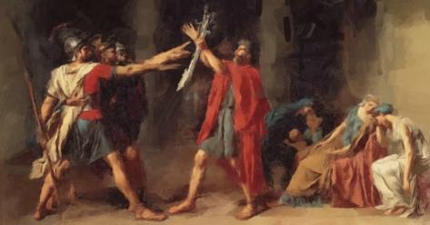Jacques-Louis David , Il giuramento degli Orazi, 1784